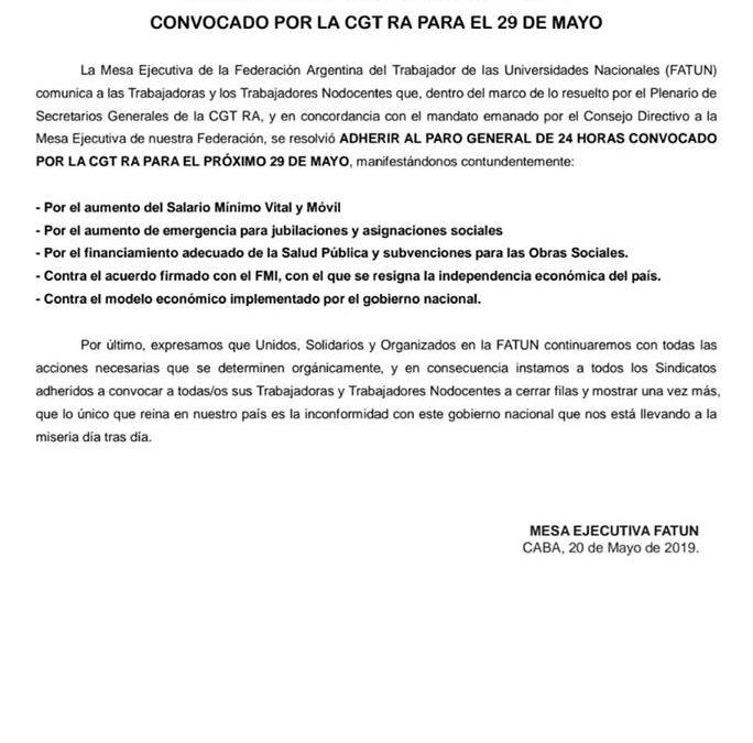EL 29/05, FATUN ADHIERE AL PARO NACIONAL CONVOCADO POR LA CGT R.A.