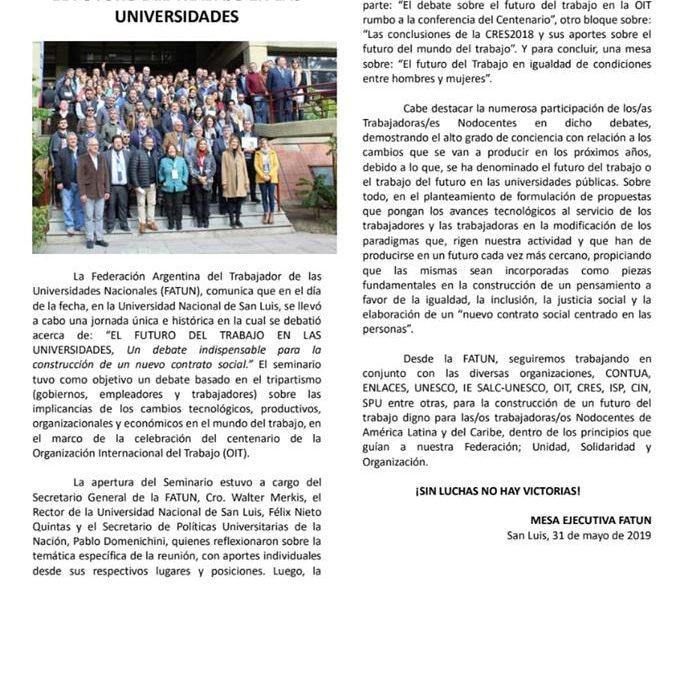 """COMUNICADO DE LA FATUN, DEL SEMINARIO """"EL FUTURO DEL TRABAJO EN LAS UNIVERSIDADES""""."""