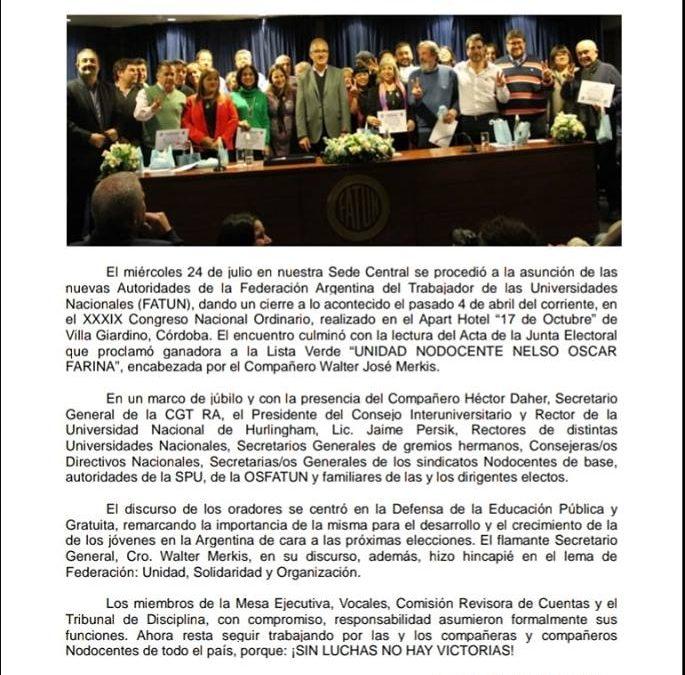 Comunicado Mesa Ejecutiva del Acto de asunción de Autoridades de la FATUN