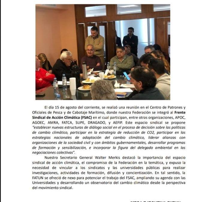 FATUN integra el Frente Sindical de Acción Climática