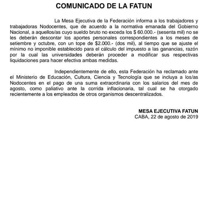 Comunicado de la Mesa Ejecutiva de la FATUN
