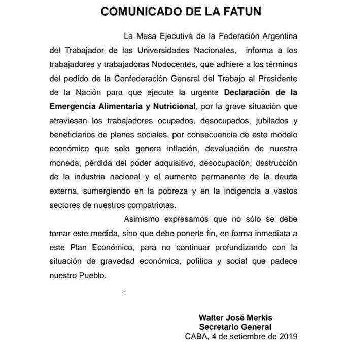 FATUN ADHIERE A LOS TÉRMINOS DEL PEDIDO DE LA CGT R.A. AL PRESIDENTE DE LA NACIÓN.