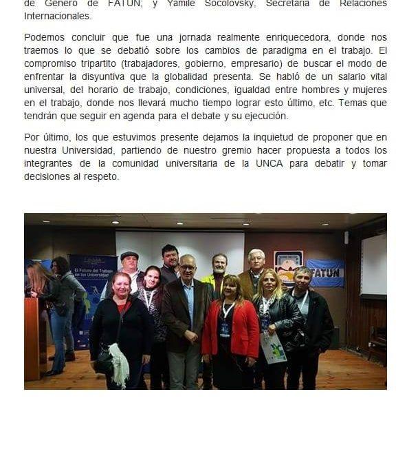 """DOCUMENTO REALIZADO POR LOS COMPAÑEROS QUE ASISTIERON AL SEMINARIO INTERNACIONAL DEL """"FUTURO DEL TRABAJO EN LAS UNIVERSIDADES NACIONALES""""."""
