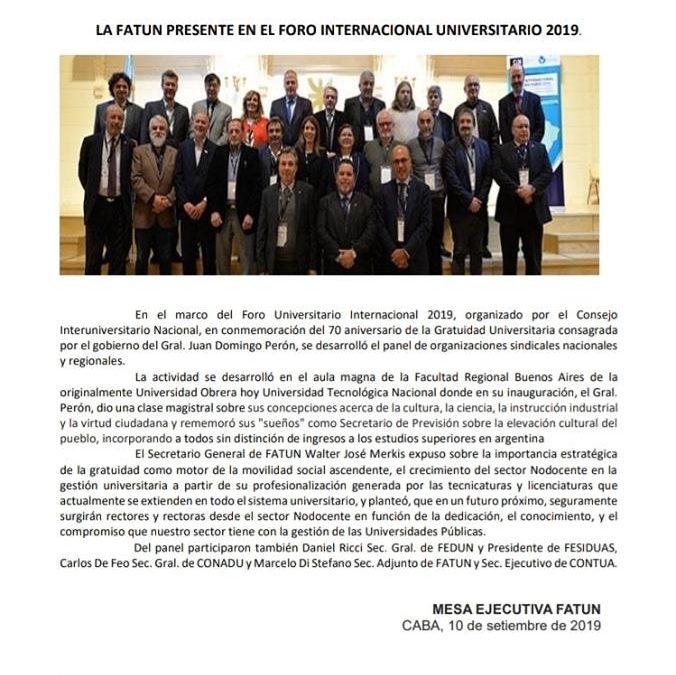 FATUN participó en el Foro Universitario Internacional 2.019