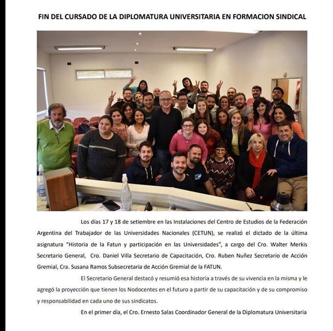 Fin del cursado de la Diplomatura Universitaria en Formación Sindical