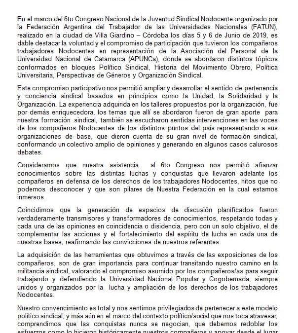 DOCUMENTO PRESENTADO POR LOS COMPAÑEROS NODOCENTES QUE PARTICIPARON EN EL CONGRESO DE LA JUVENTUD SINDICAL, ORGANIZADO POR LA FATUN.
