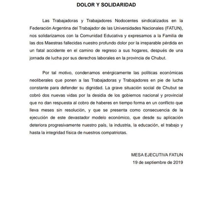 FATUN se solidariza con la Comunidad Educativa por la muerte de las dos maestras en la provincia de Chubut