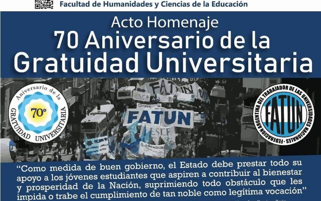 FATUN ORGANIZA ACTO HOMENAJE 70 ANIVERSARIO DE LA GRATUIDAD UNIVERSITARIA