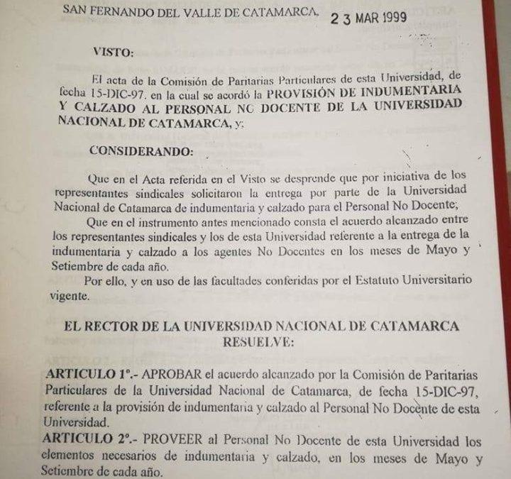 INDUMENTARIA Y CALZADO PARA TODOS LOS NODOCENTES DOS VECES POR AÑO
