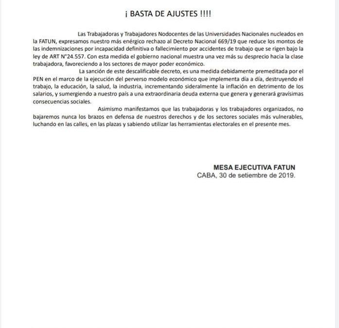 FATUN – APUNCa, RECHAZAN EL DECRETO DE AJUSTE A LOS TRABAJADORES .