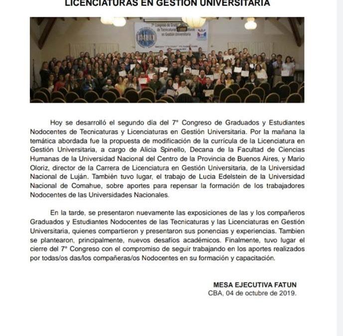 FINALIZÓ EL 7°CONGRESO NACIONAL DE ESTUDIANTES Y GRADUADOS EN LA TEC. Y LIC. EN GESTION UNIVERSITARIA, CON UN ÉXITO.