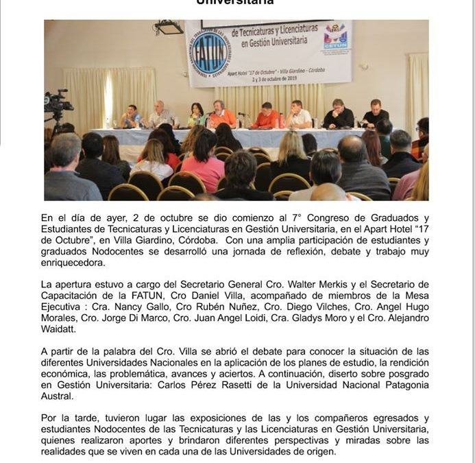 7° CONGRESO NACIONAL DE GRADUADOS Y ESTUDIANTES DE TECNICATURA Y LICENCIATURA EN GESTION UNIVERSITARIA.