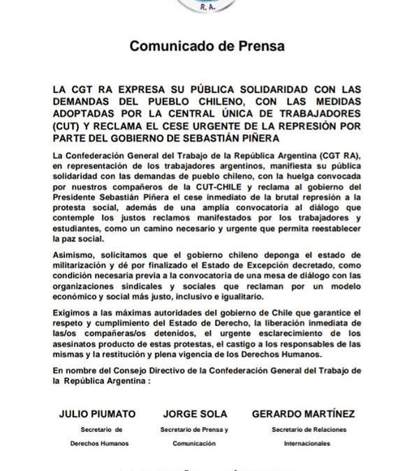 LA FATUN ADHIERE AL DOCUMENTO DE LA CGT R.A., SOLIDARIZANDOSE CON EL PUEBLO CHILENO.