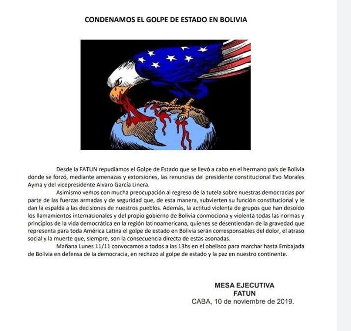 Condenamos el Golpe de Estado en Bolivia