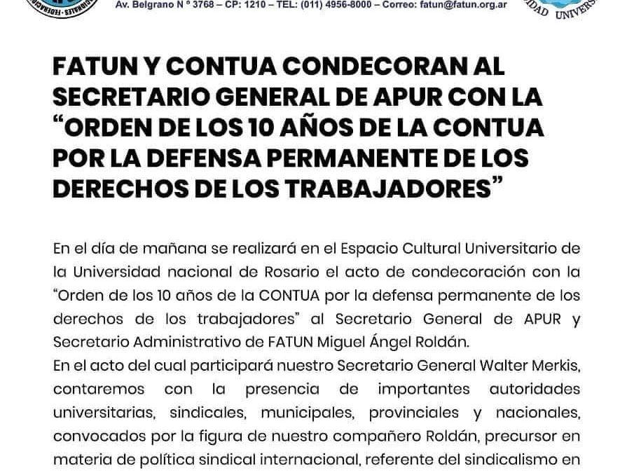 FATUN y CONTUA condecoran al Secretario General de APUR