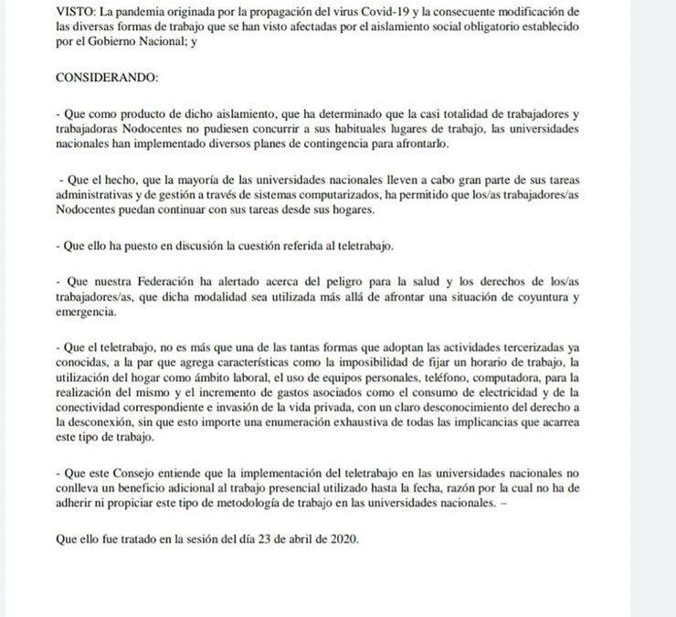 FATUN se opone a la implementación del teletrabajo en las Universidades Nacionales.