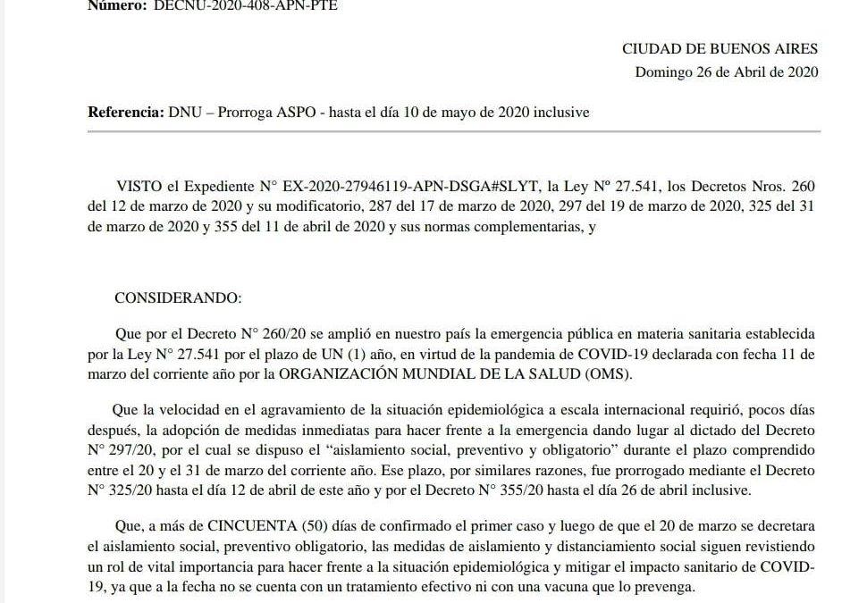 Decreto 408/20 PEN: Prórroga del Aislamiento Social Preventivo y Obligatorio, hasta el 10 de Mayo/20
