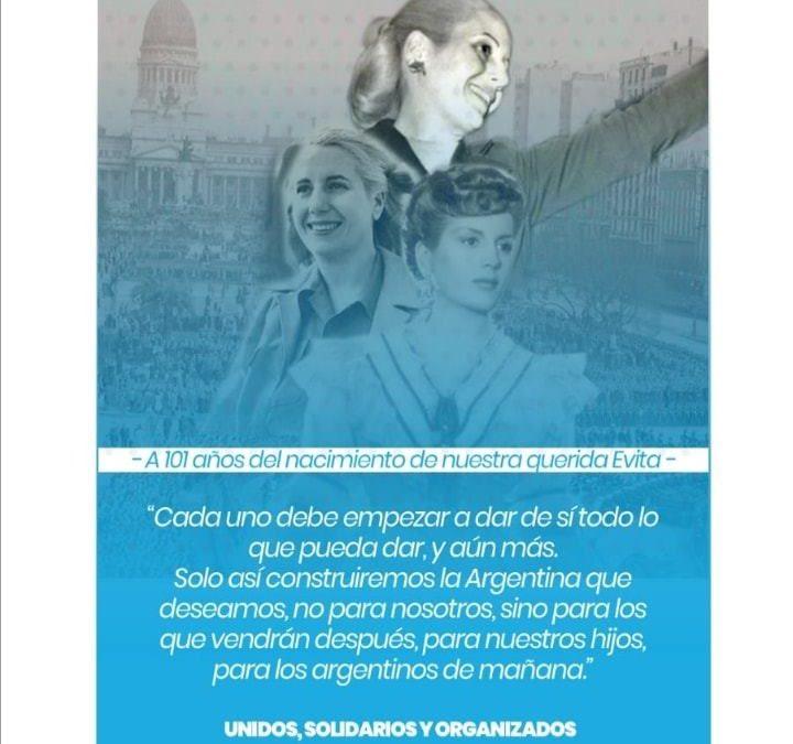 06 de Mayo, 101 ANIVERSARIO DEL NATALICIO DE MARIA EVA DUARTE – EVITA –