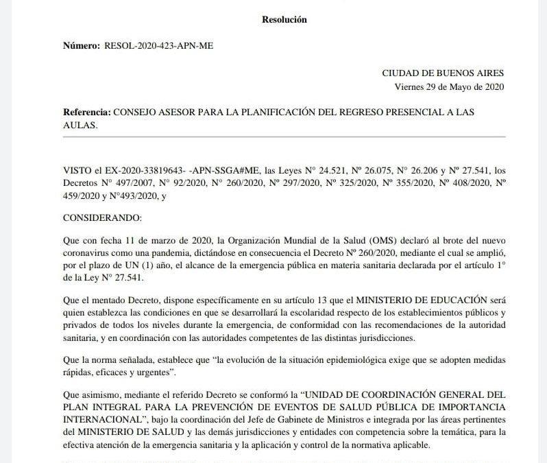 FATUN INTEGRA EL  CONSEJO ASESOR PARA LA PLANIFICACIÓN DEL REGRESO PRESENCIAL A LAS AULAS