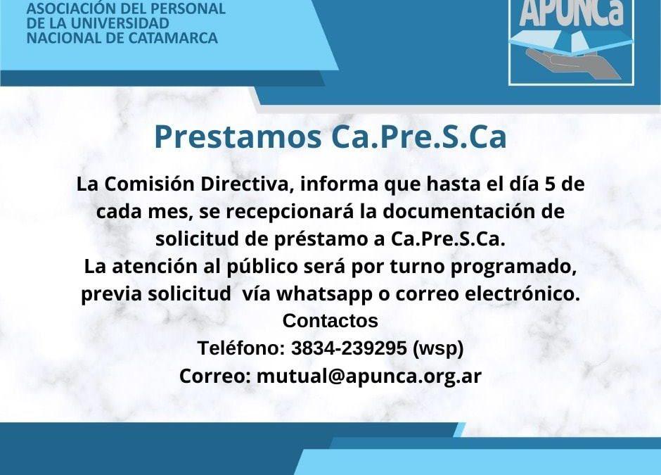Ca.Pre.S.Ca., habilita la liquidación de Préstamos a nuestros afiliados