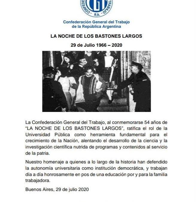 A 54 años de la «NOCHE DE LOS BASTONES LARGOS».