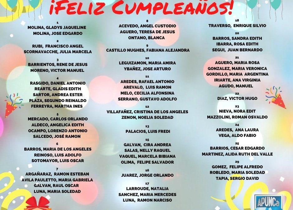 FELIZ CUMPLE A TODAS LAS COMPAÑERAS Y A LOS  COMPAÑEROS!!!