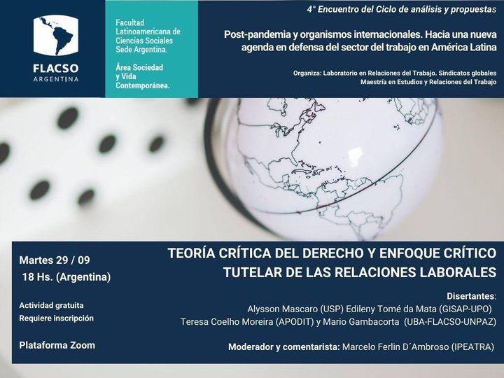 APUNCa, invita a participar del Ciclo de análisis y propuestas Post pandemia y organismos Internacionales: Hacia una nueva agenda en defensa del sector del trabajo en América Latina.