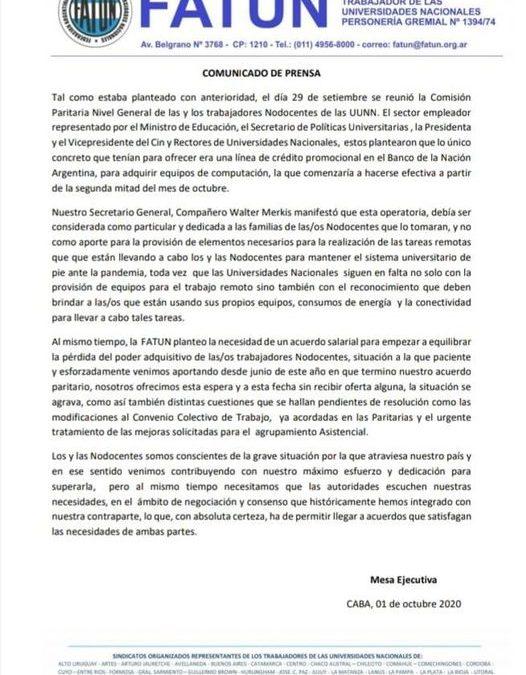 COMUNICADO DE PRENSA DE LA FATUN