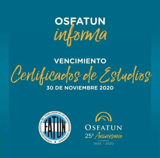 La Comisión Directiva de APUNCa, informa a los afiliados a la OSFATUN