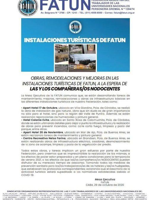 OBRAS, REMODELACIONES Y MEJORAS EN LAS INSTALACIONES TURÍSTICAS DE FATUN, A LA ESPERA DE LA/OS NODOCENTES