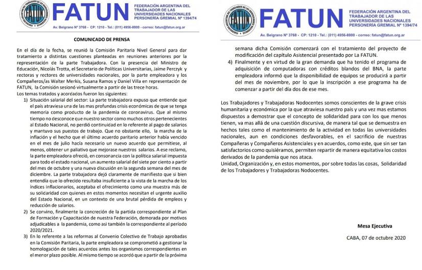 COMUNICADO FATUN  Acuerdo Paritario General : 7% de aumento salarial a partir del 01/10.