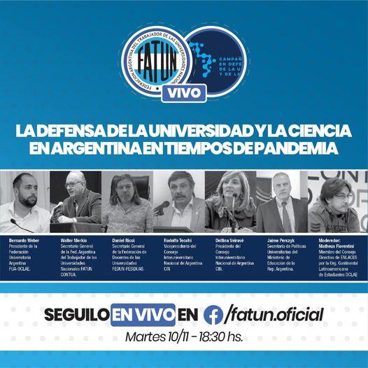 Te invitamos a participar de la Conferencia, «En Defensa de La Universidad y la Ciencia en Argentina en tiempos de Pandemia.