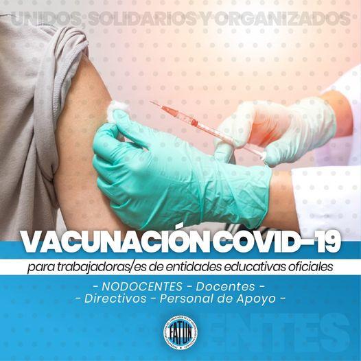 VACUNACIÓN COVID 19 PARA NODOCENTES Y DOCENTES