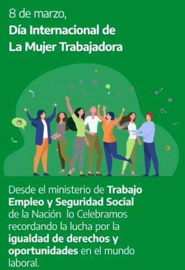 MINISTERIO DE TRABAJO Y SEGURIDAD SOCIAL DE LA NACIÓN, EN EL MES DE LA MUJER