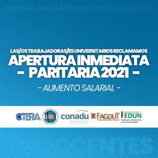 Desde FATUN, adherimos y reclamamos la APERTURA INMEDIATA DE LA PARITARIA 2021.